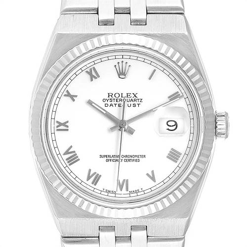 Photo of Rolex Oysterquartz Datejust Steel White Gold Fluted Bezel Watch 17014