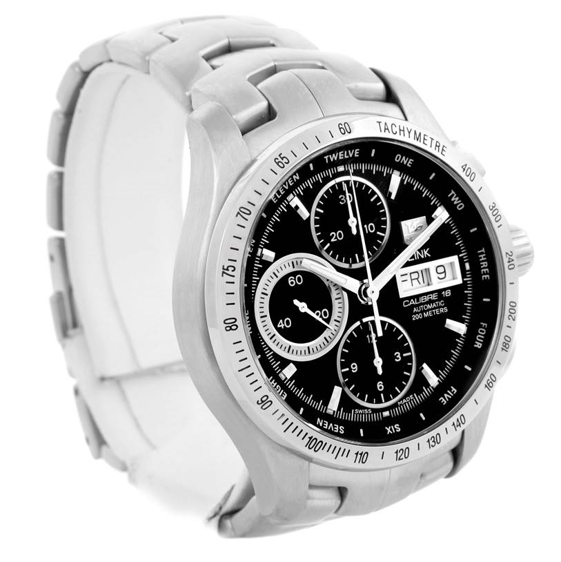 299170bec5c BA0594 SwissWatchExpo  10124 TAG Heuer Link Steel Black Dial Automatic Mens  Watch CJF211A.