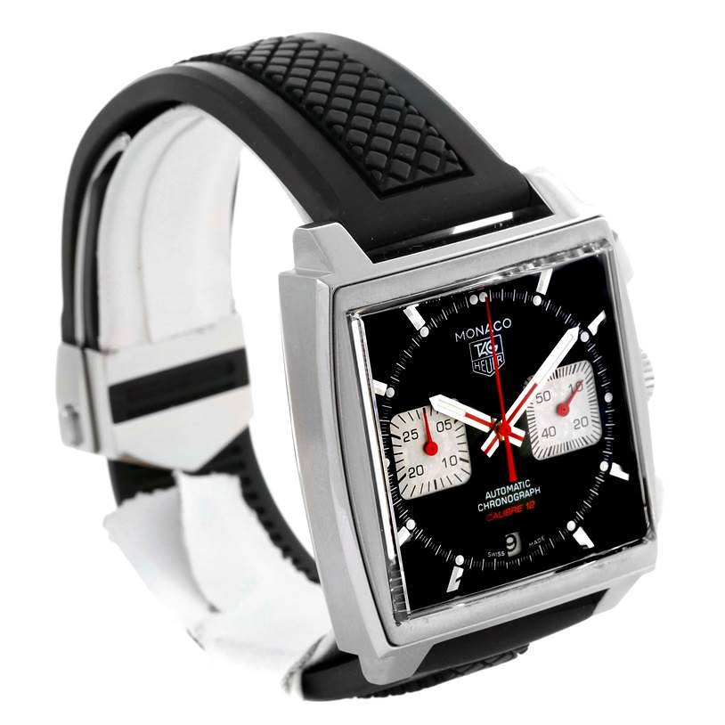 Tag Heuer Monaco Steve McQueen Edition Rubber Strap Mens Watch CAW2114 SwissWatchExpo