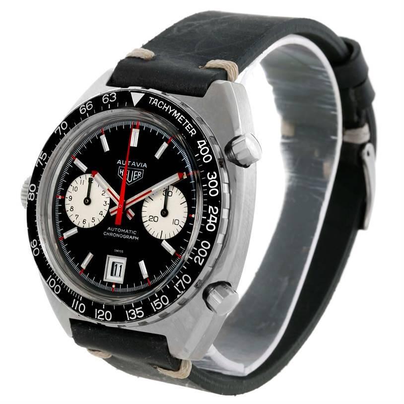 Heuer Autavia Automatic Chronograph Stainless Steel Mens Watch 1163 SwissWatchExpo