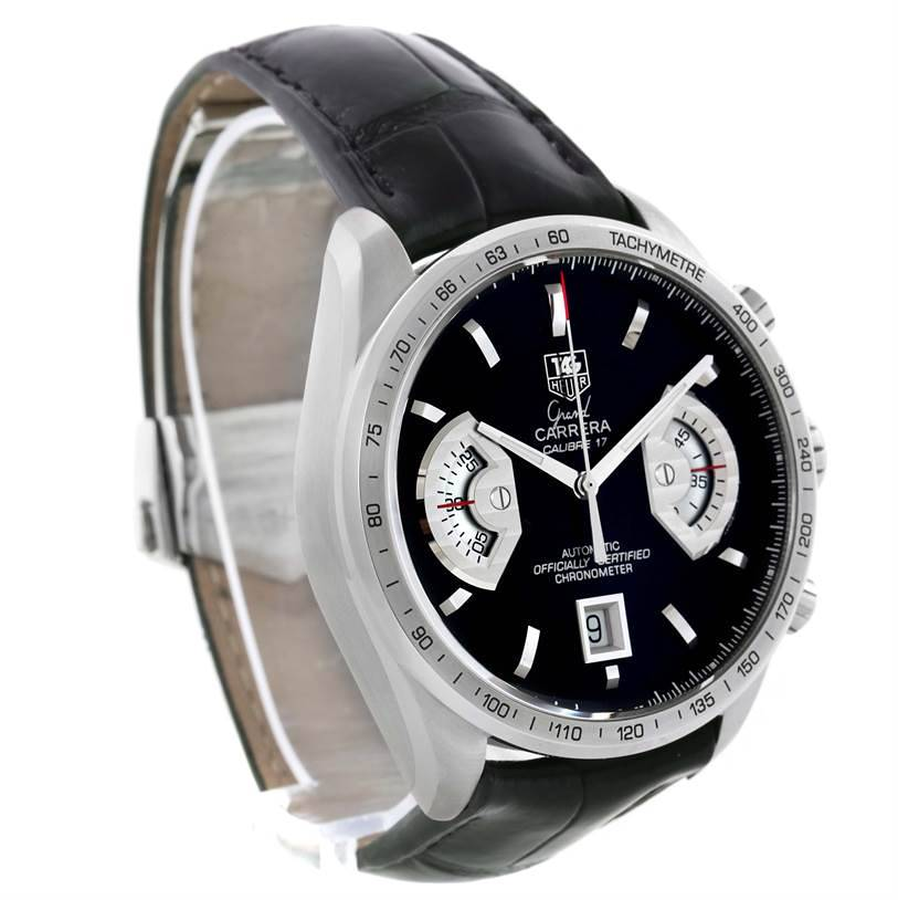 Tag Heuer Grand Carrera Black Leather Strap Automatic Mens Watch CAV511A SwissWatchExpo