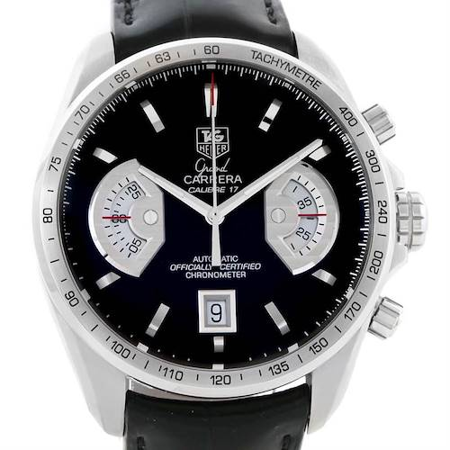 Photo of Tag Heuer Grand Carrera Black Leather Strap Automatic Mens Watch CAV511A