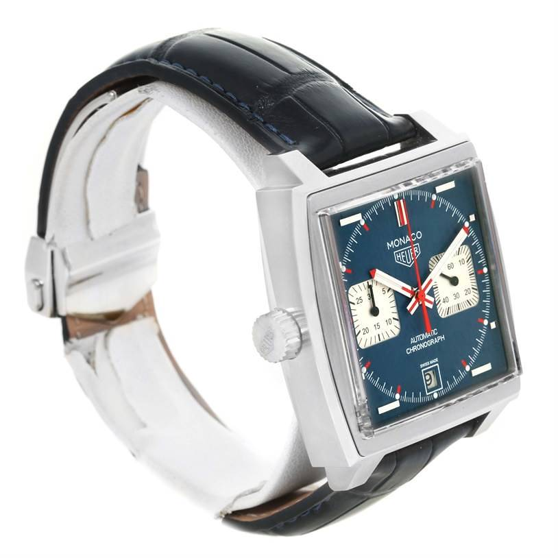 Tag Heuer Monaco Automatic Chronograph Mens Watch CAW211P Box Papers SwissWatchExpo