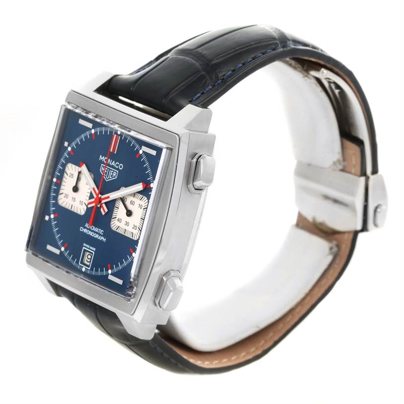 12418 Tag Heuer Monaco Automatic Chronograph Mens Watch CAW211P Box Papers SwissWatchExpo