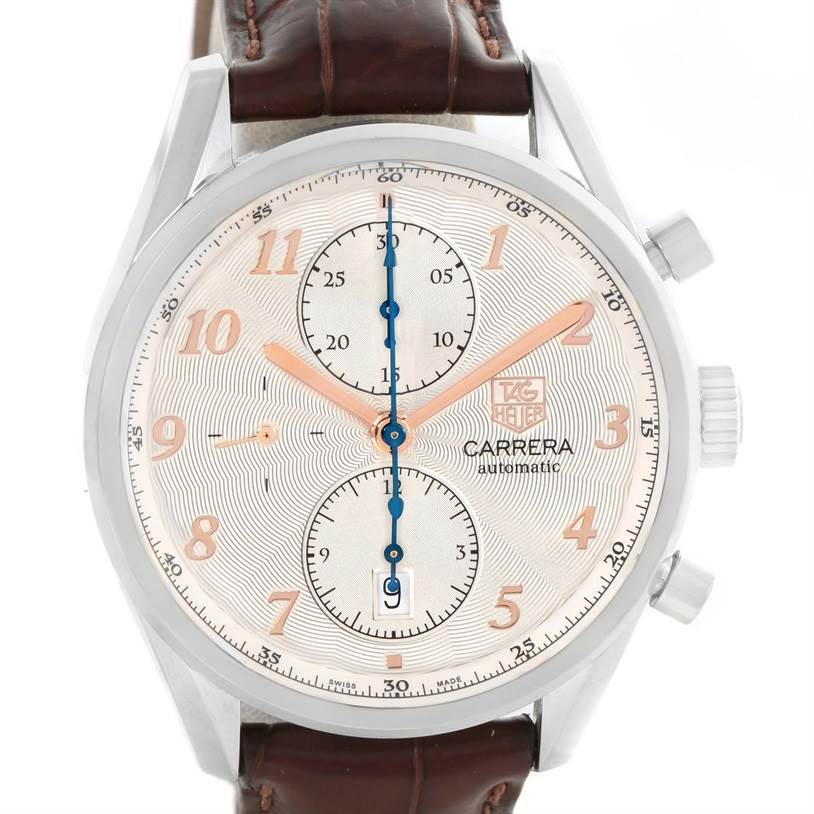 35ff98da9e9 12417 Tag Heuer Carrera Heritage Chronograph Silver Dial Mens Watch  CAS2112.FC6291 SwissWatchExpo