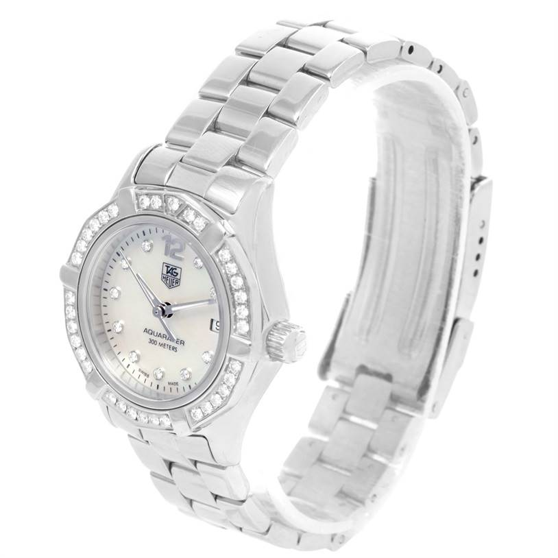 12477 TAG Heuer Aquaracer Mother of Pearl Diamond Ladies Watch WAF1416 SwissWatchExpo