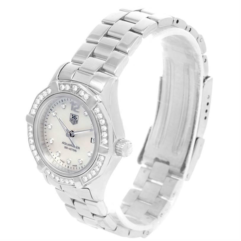 TAG Heuer Aquaracer Mother of Pearl Diamond Ladies Watch WAF1416 SwissWatchExpo
