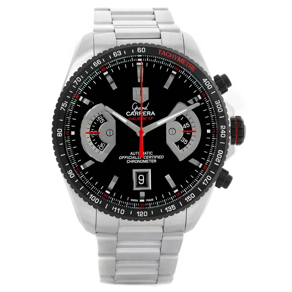 13401 Tag Heuer Grand Carrera Black Dial Automatic Mens Watch CAV511C SwissWatchExpo