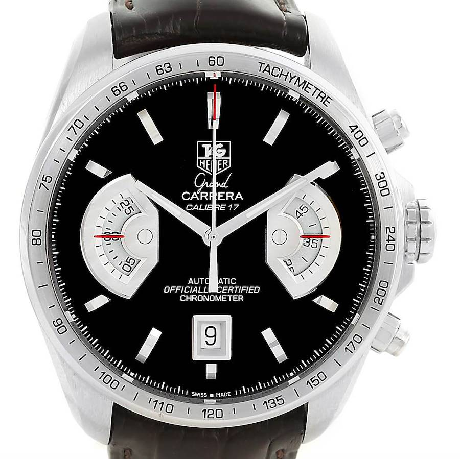 Tag Heuer Grand Carrera Brown Leather Strap Mens Watch CAV511A SwissWatchExpo