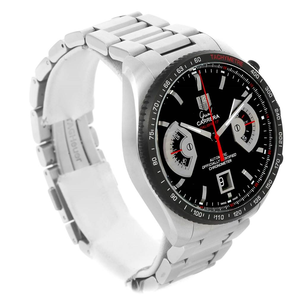 13553 Tag Heuer Grand Carrera Black Dial Automatic Mens Watch CAV511C SwissWatchExpo
