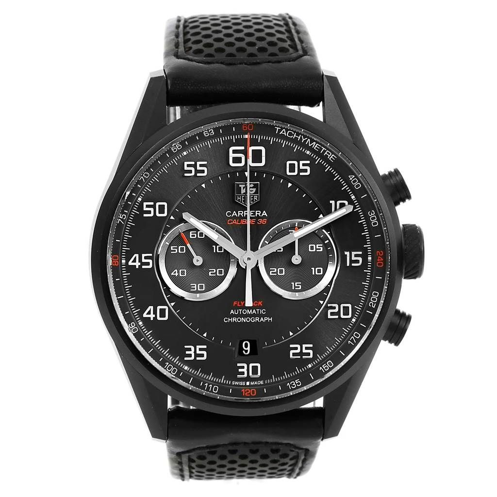 14238 Tag Heuer Carrera Calibre 36 Flyback Titanium Mens Watch CAR2B80 SwissWatchExpo