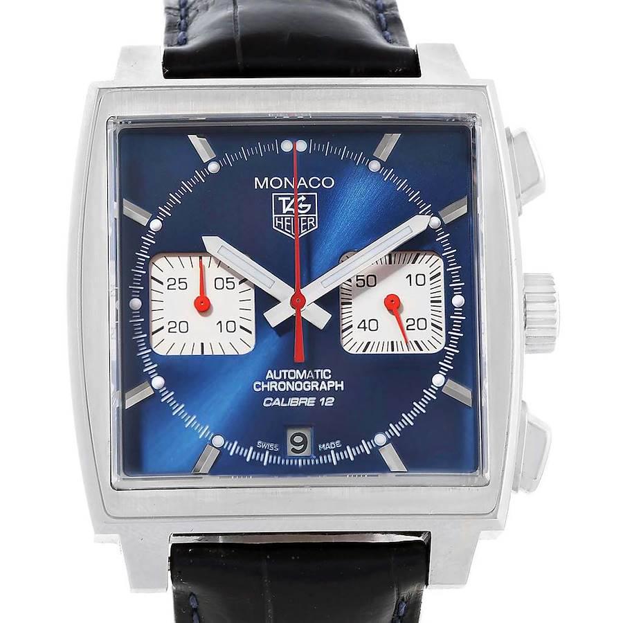 Tag Heuer Monaco Calibre 12 Blue Dial Chronograph Mens Watch CAW2111 SwissWatchExpo