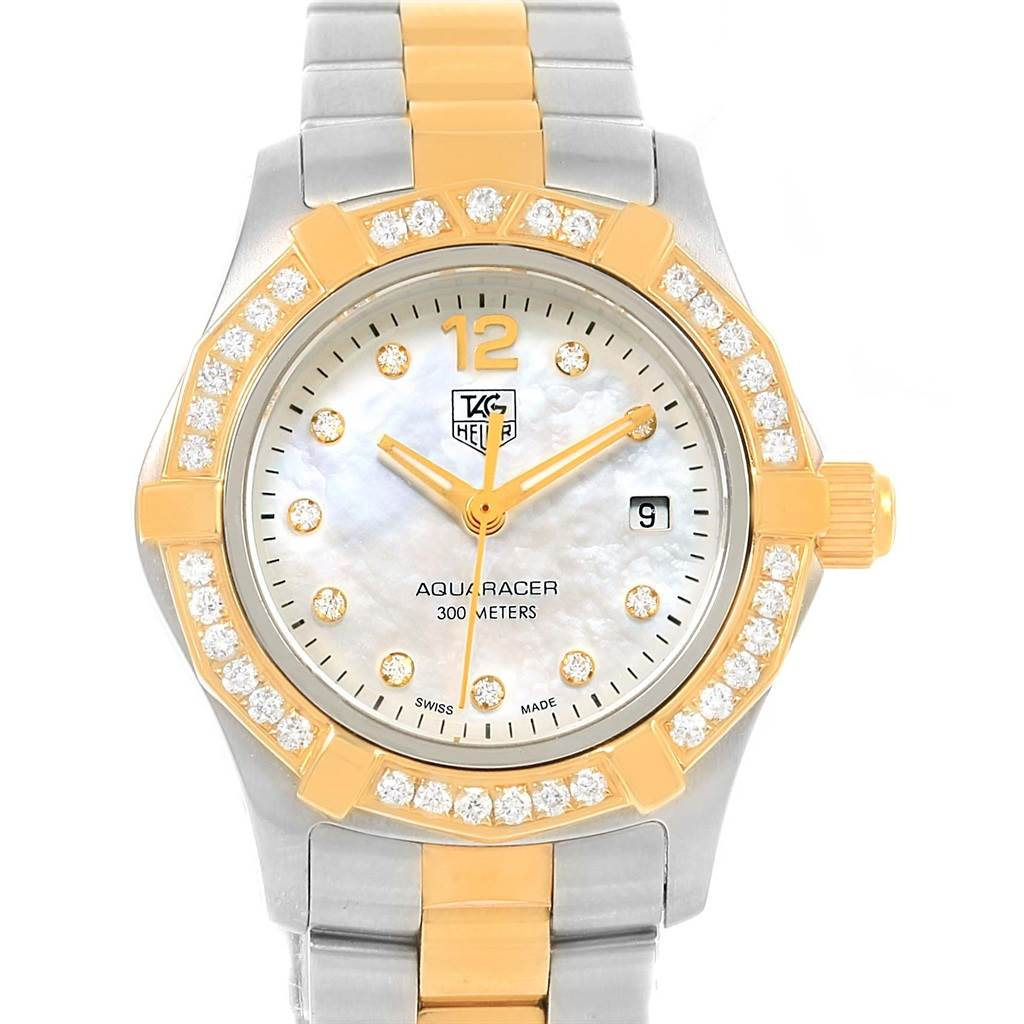 Photo of TAG Heuer Aquaracer Mother of Pearl Diamond Ladies Watch WAF1450