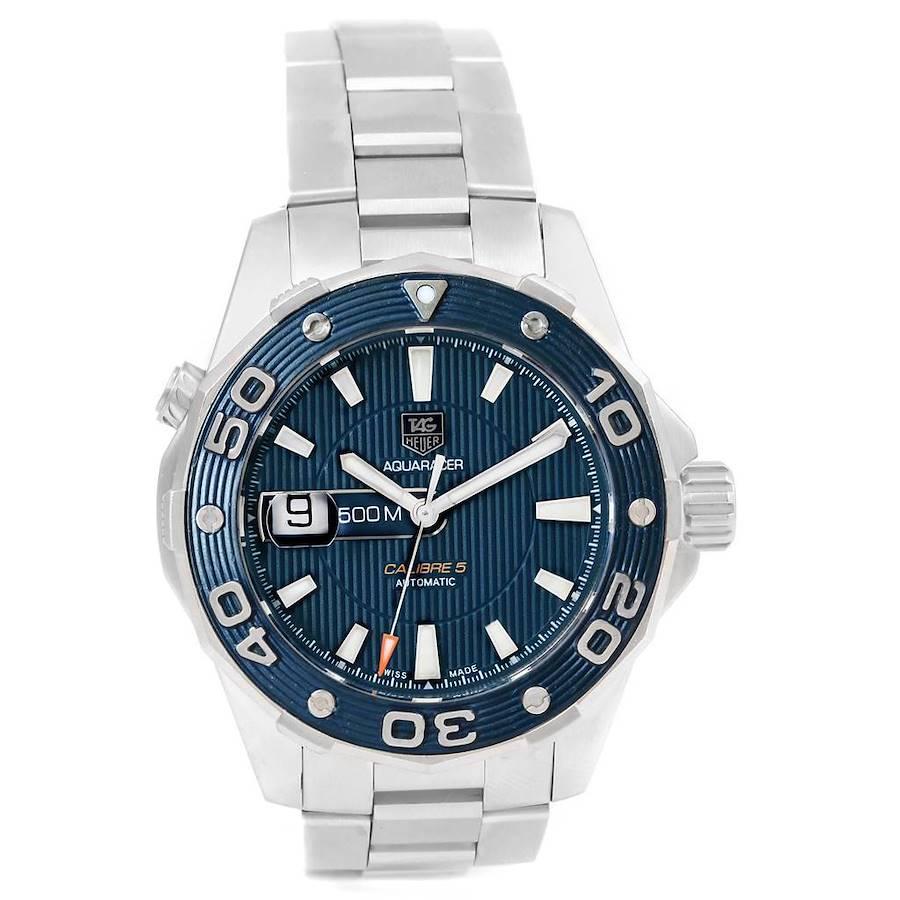 Tag Heuer Aquaracer Blue Dial Steel Mens Watch WAJ2112 Box Papers SwissWatchExpo