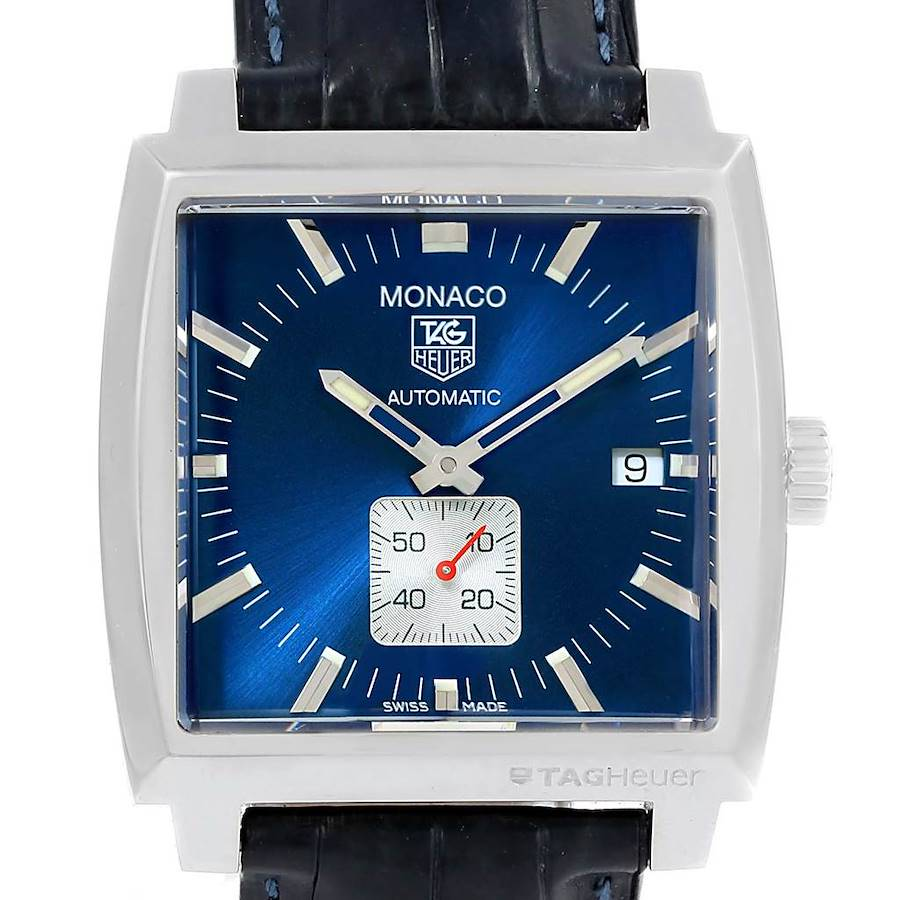 Tag Heuer Monaco Blue Dial Automatic Mens Watch WW2111 Box Card SwissWatchExpo