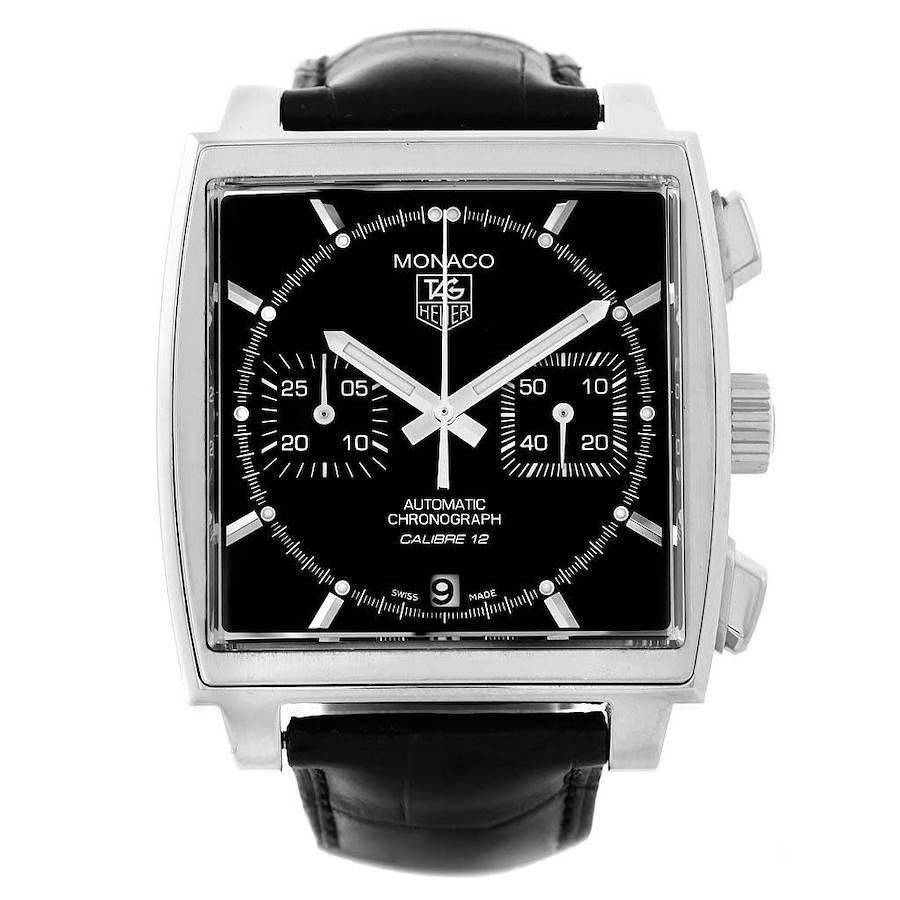 Tag Heuer Monaco Black Dial Automatic Mens Watch CAW2110 Box Card SwissWatchExpo