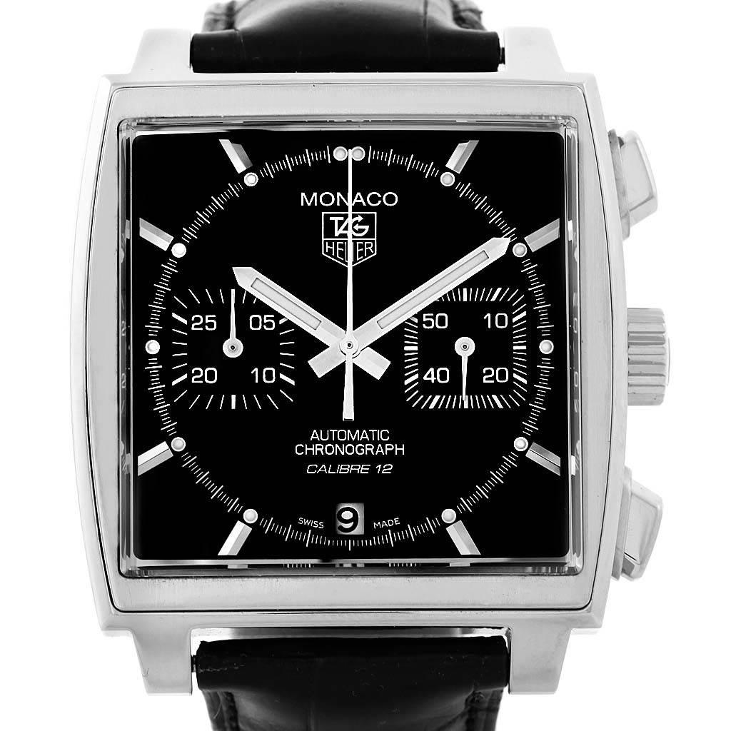 9b8f470ece828 ... 15468 Tag Heuer Monaco Black Dial Automatic Mens Watch CAW2110 Box Card  SwissWatchExpo ...