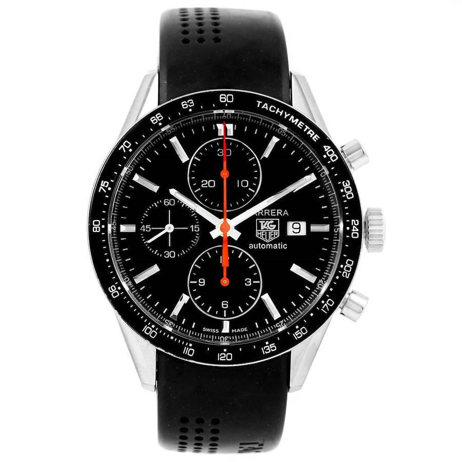 Tag Heuer Carrera Black Dial Rubber Strap Chronograph Mens Watch CV2014 SwissWatchExpo