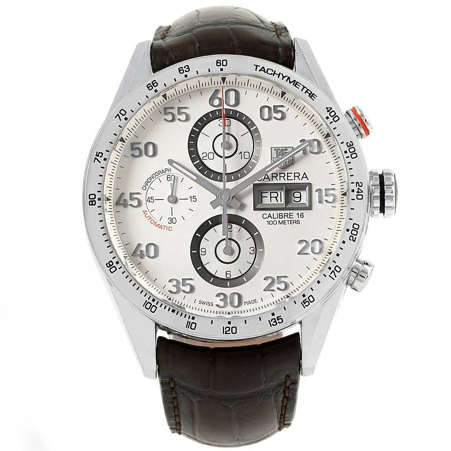 Tag Heuer Carrera Day-Date Silver Dial Mens Watch CV2A11 SwissWatchExpo