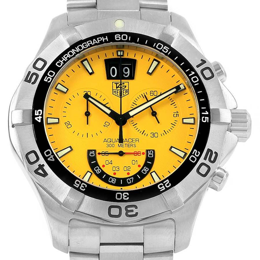 Tag Heuer Aquaracer Yellow Dial Chronograph Steel Mens Watch CAF101D SwissWatchExpo
