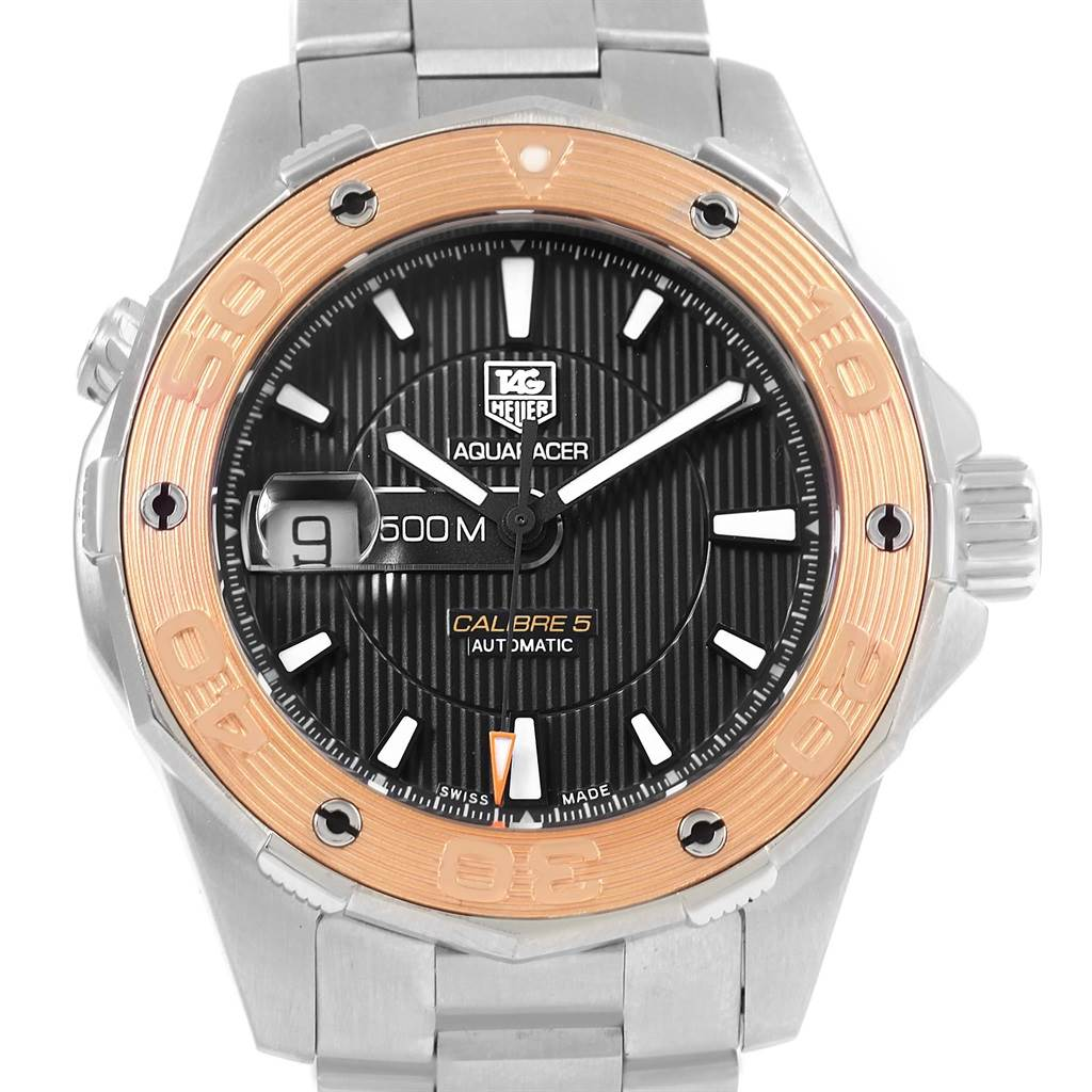 f95779b4f90bb ... 15946 Tag Heuer Aquaracer Steel 18K Rose Gold Mens Watch WAJ2150  SwissWatchExpo ...