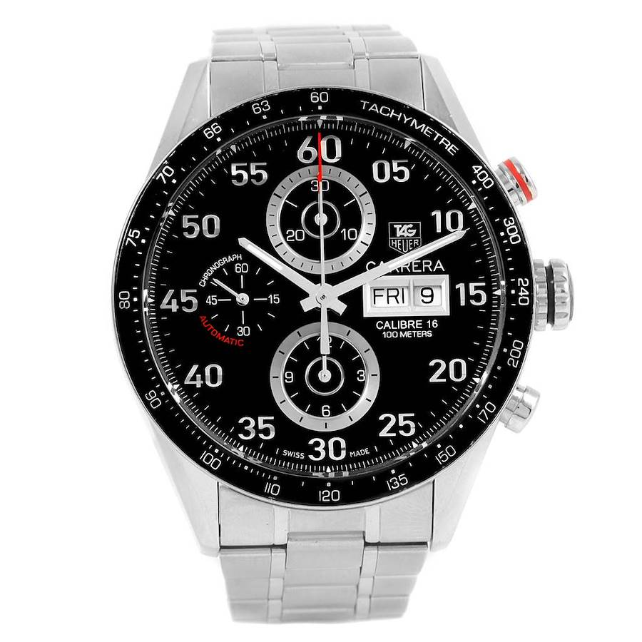 Tag Heuer Carrera Day Date Black Dial Steel Mens Watch CV2A10 SwissWatchExpo