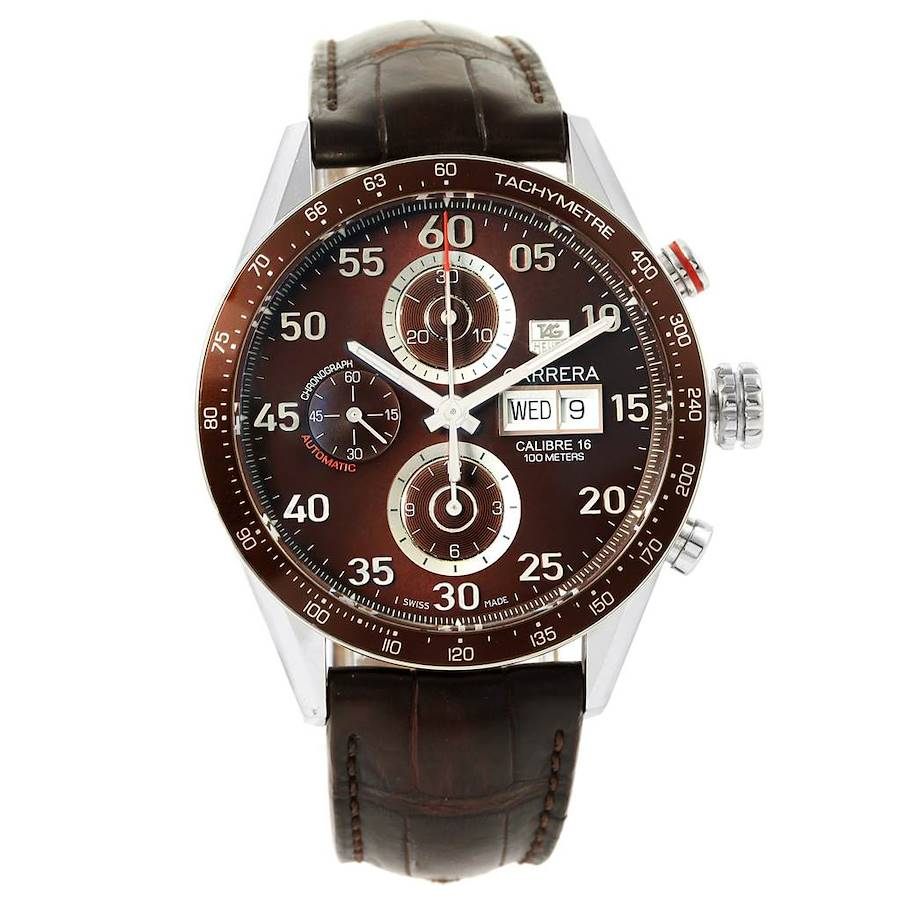 Tag Heuer Carrera Day-Date Brown Dial Automatic Mens Watch CV2A12 SwissWatchExpo