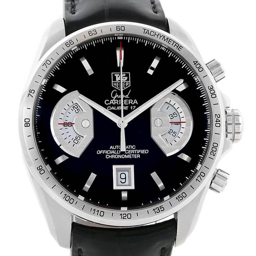 Tag Heuer Grand Carrera Brown Leather Strap Mens Watch CAV511A Box Card SwissWatchExpo