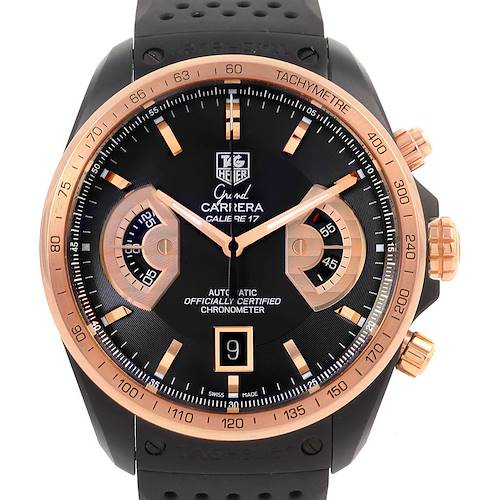 Photo of Tag Heuer Grand Carrera Black PVD Rose Gold Watch CAV518E Box Papers