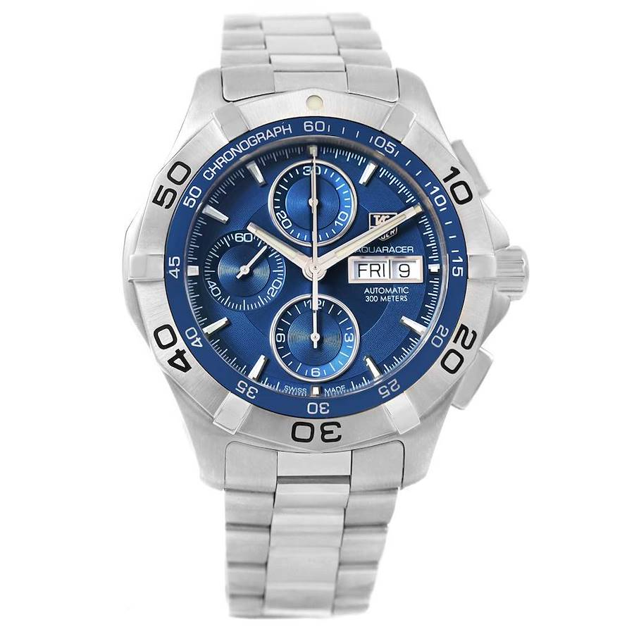 Tag Heuer Aquaracer Day Date Blue Dial Chronograph Watch CAF2012 Unworn SwissWatchExpo