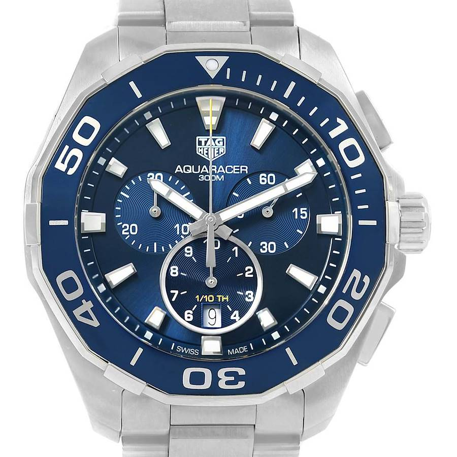 Tag Heuer Aquaracer Blue Dial Chronograph Steel Mens Watch CAY111B SwissWatchExpo