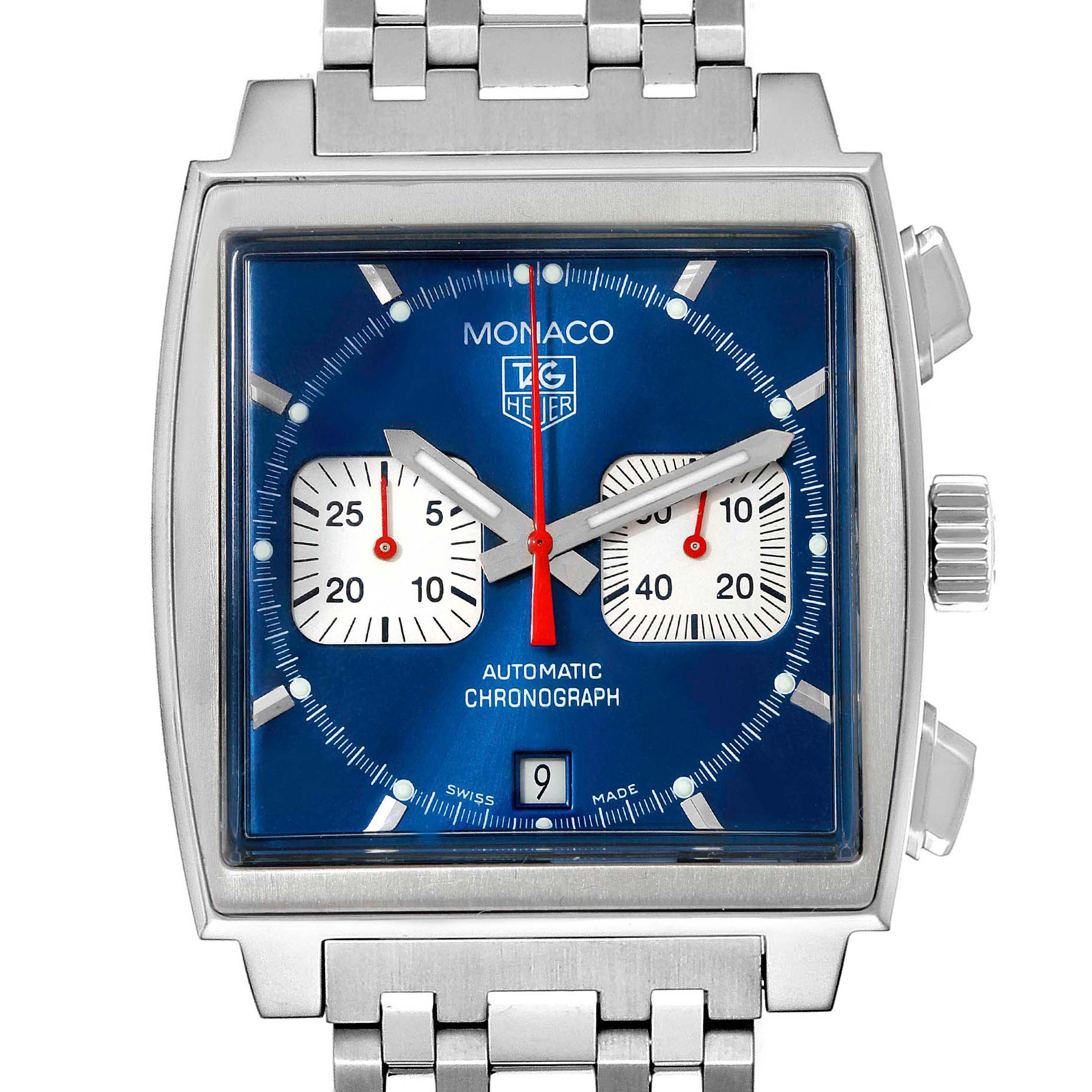 Tag Heuer Monaco Blue Dial Automatic Chronograph Mens Watch CW2113 SwissWatchExpo