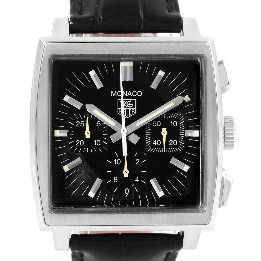 Tag Heuer Monaco Automatic Black Strap Mens Watch CW2111 SwissWatchExpo