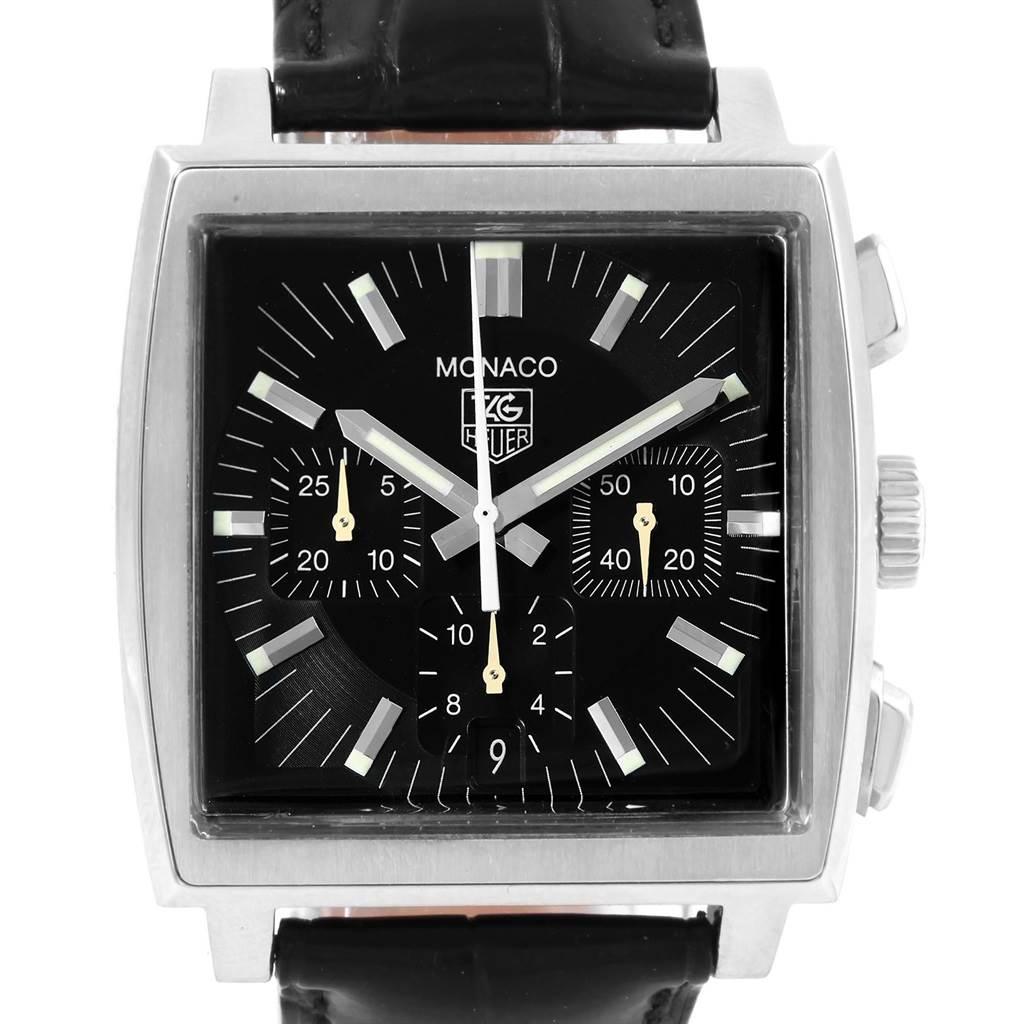 ... 17583 Tag Heuer Monaco Automatic Black Strap Mens Watch CW2111  SwissWatchExpo ... f44d61bd6