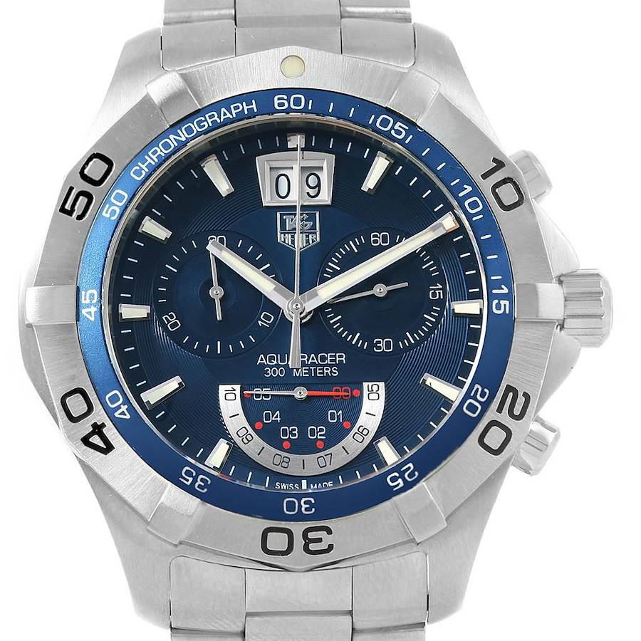 Tag Heuer Aquaracer Blue Dial Chronograph Steel Mens Watch CAF101D SwissWatchExpo