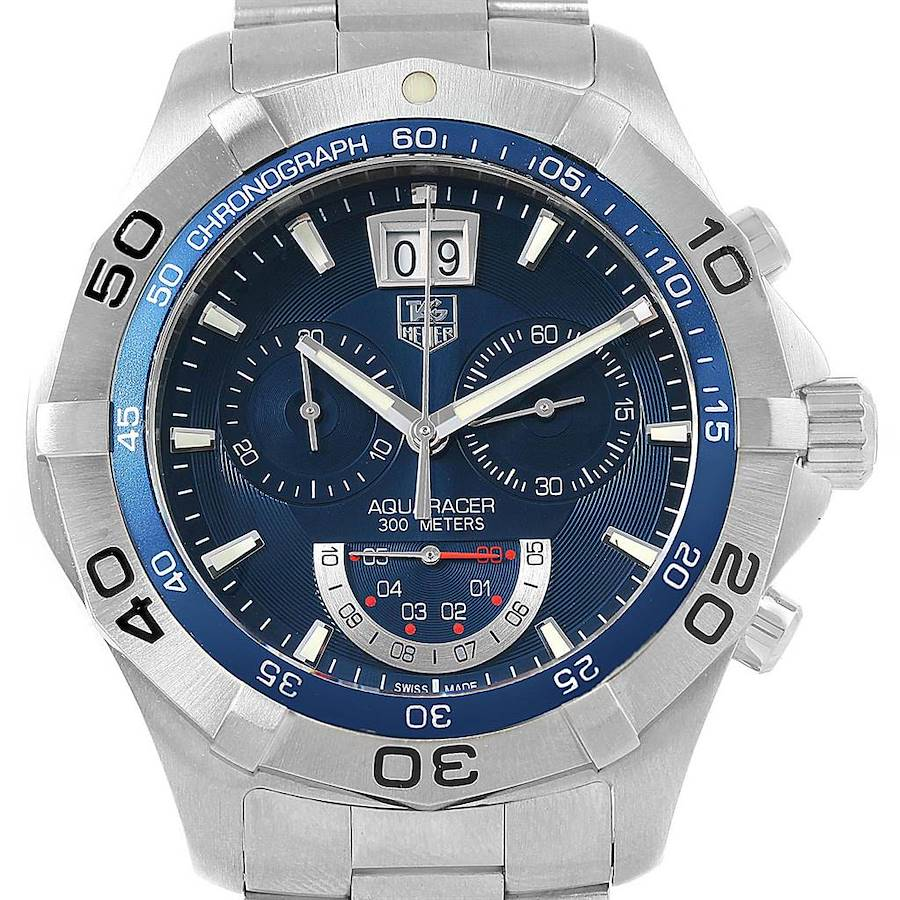 Tag Heuer Aquaracer Blue Dial Chronograph Mens Watch CAF101C Box Card SwissWatchExpo