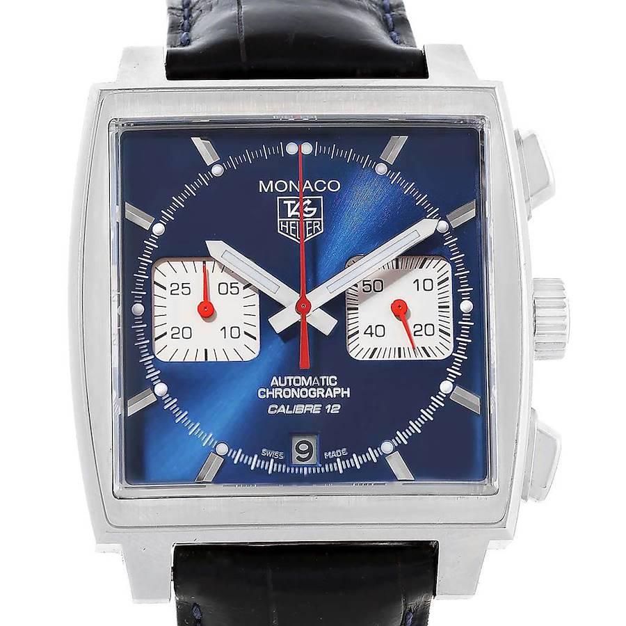 Tag Heuer Monaco Calibre 12 Blue Dial Chronograph Watch CAW2111 SwissWatchExpo
