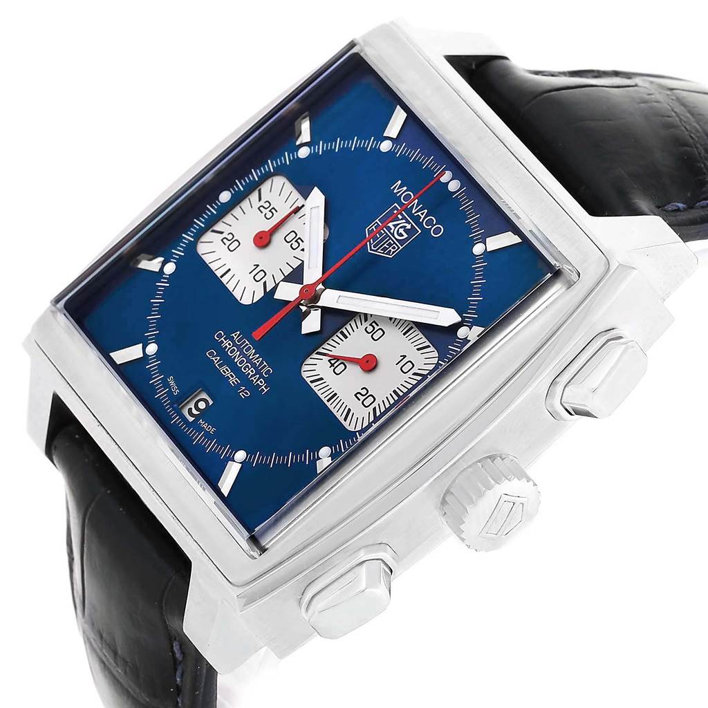 Tag Heuer Monaco Calibre 12 Blue Dial Chronograph Watch CAW2111 SwissWatchExpo