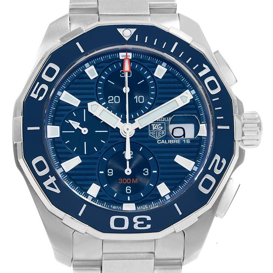 Tag Heuer Aquaracer Blue Dial Chronograph Steel Mens Watch CAY211B Box Card SwissWatchExpo