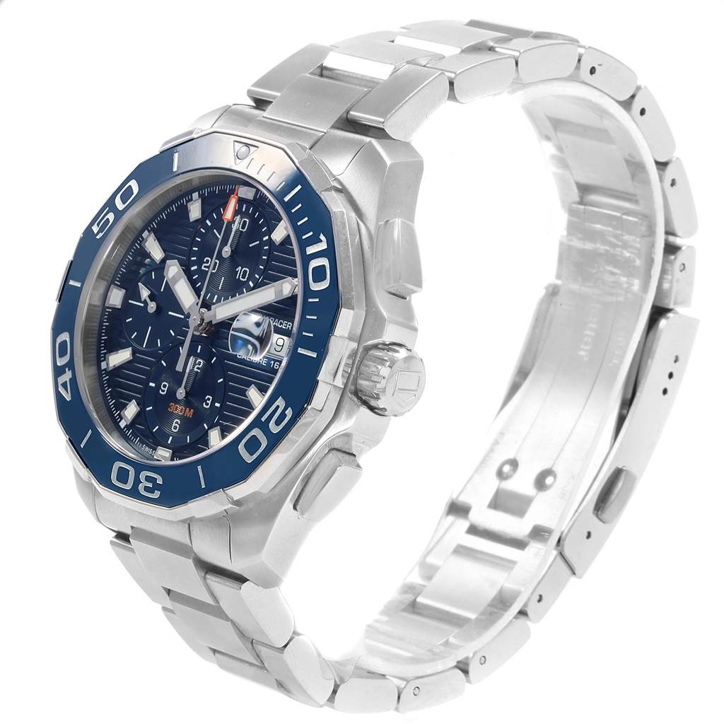 18510 Tag Heuer Aquaracer Blue Dial Chronograph Steel Mens Watch CAY211B Box Card SwissWatchExpo