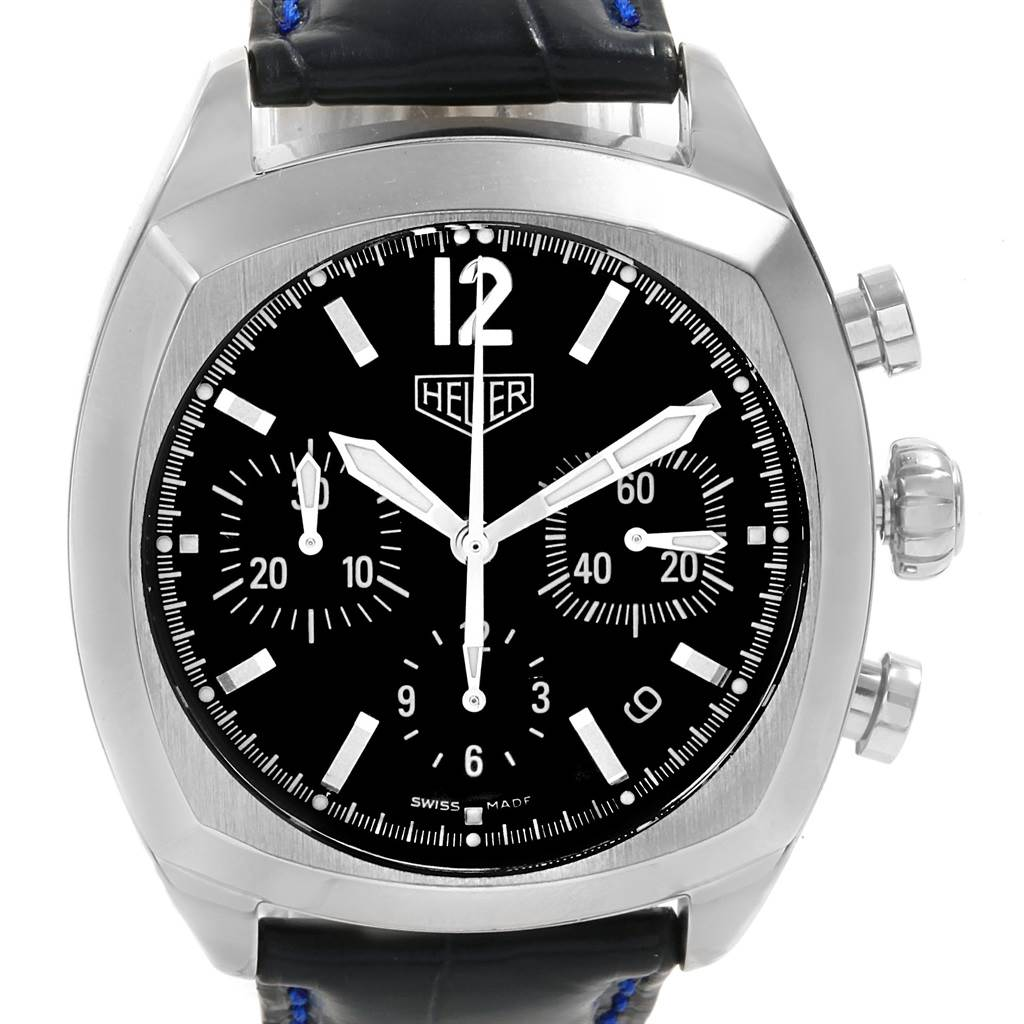 18506 Tag Heuer Monza Blue Strap Chronograph Steel Mens Watch CR2113 SwissWatchExpo