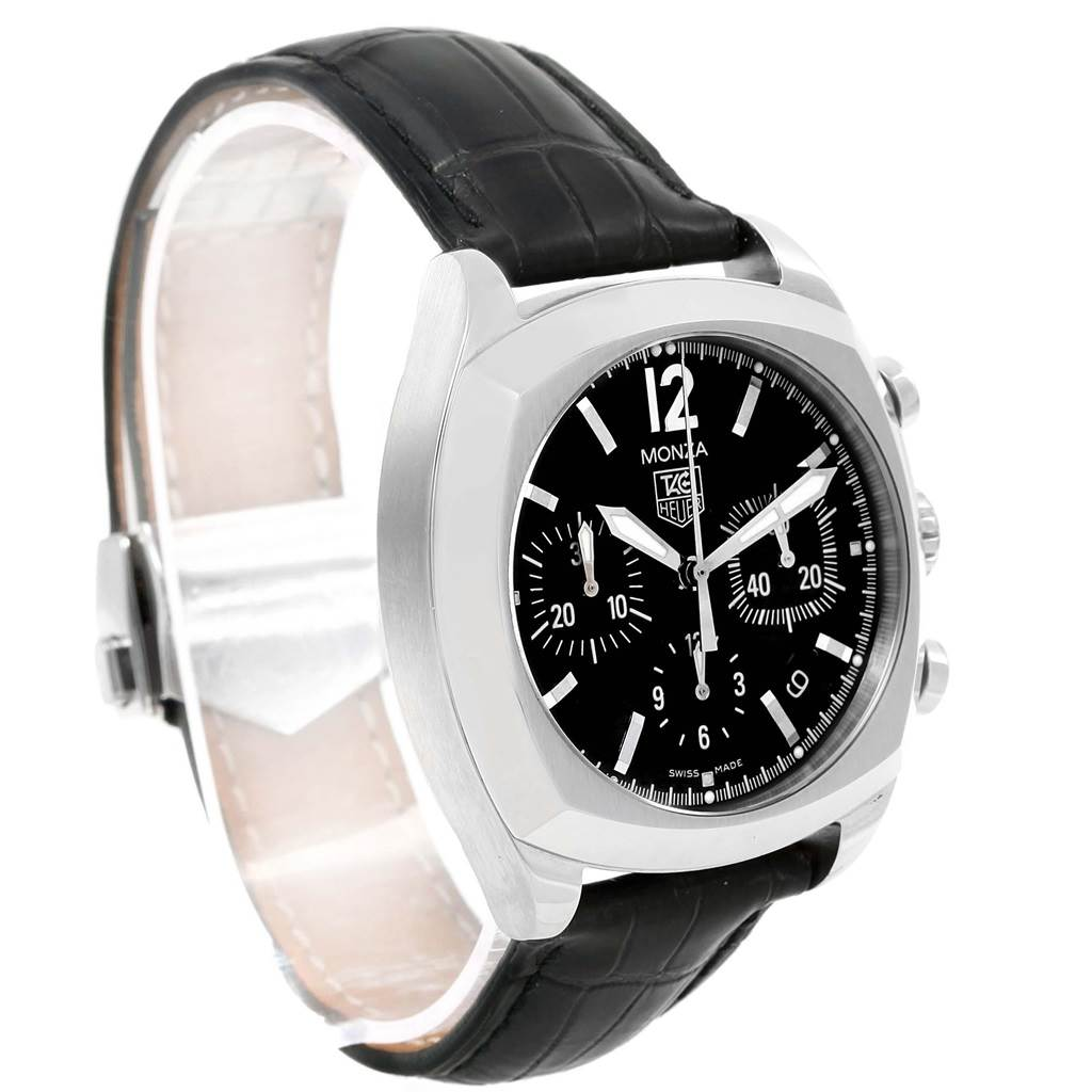 18505 Tag Heuer Monza Black Dial Chronograph Steel Mens Watch CR2113 SwissWatchExpo