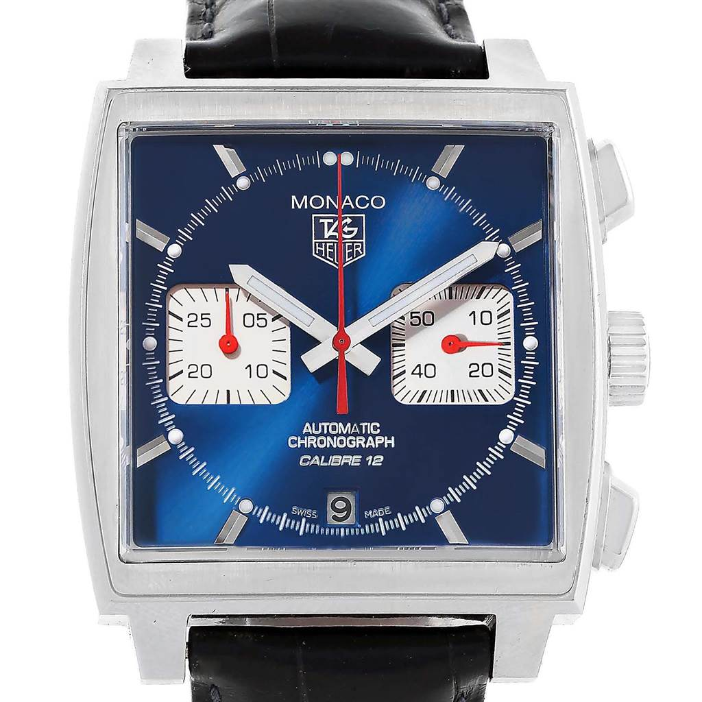 18891 Tag Heuer Monaco Calibre 12 Blue Dial Black Strap Mens Watch CAW2111 SwissWatchExpo