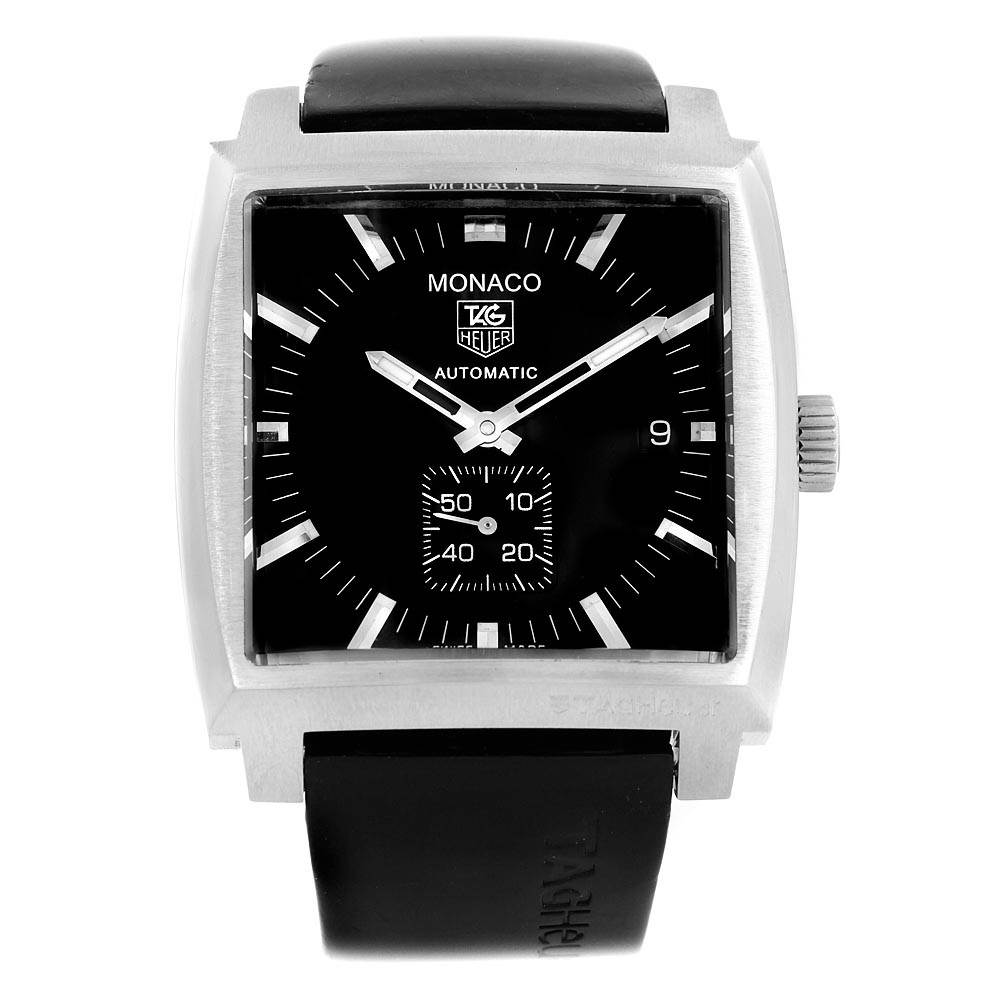 16566 Tag Heuer Monaco Black Rubber Strap Automatic Mens Watch WW2110 SwissWatchExpo