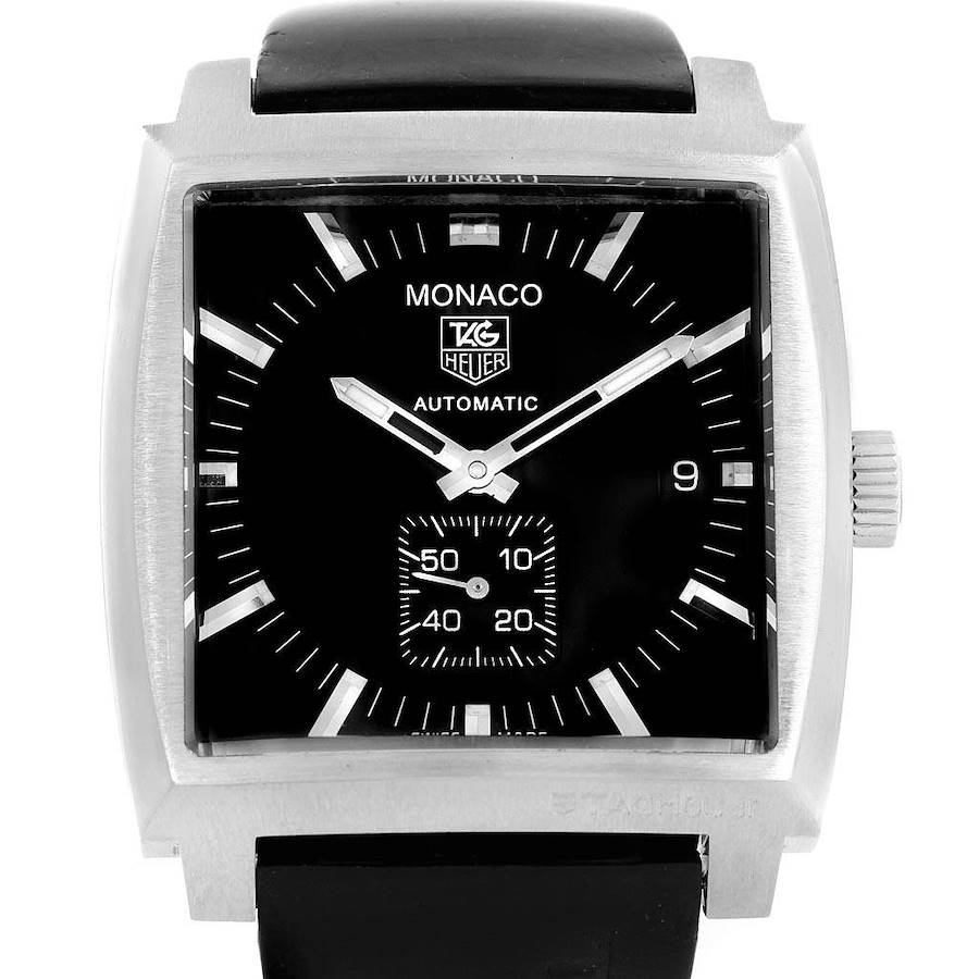 Tag Heuer Monaco Black Rubber Strap Automatic Mens Watch WW2110 SwissWatchExpo