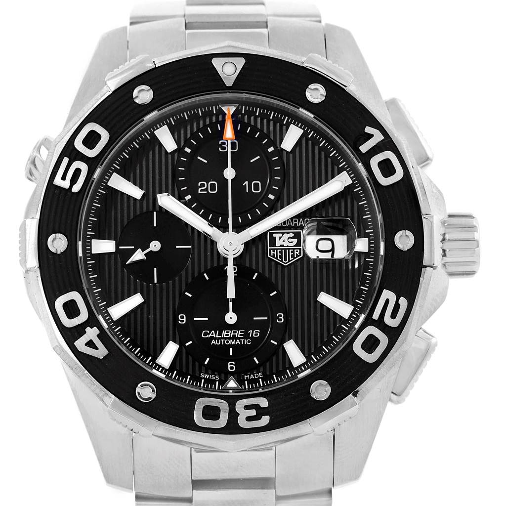 16111 Tag Heuer Aquaracer Black Dial Stainless Steel Mens Watch CAJ2110 SwissWatchExpo