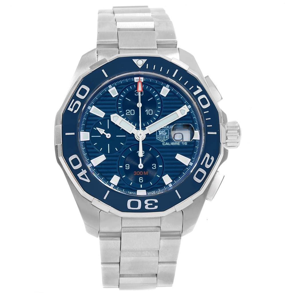 18691 Tag Heuer Aquaracer Blue Dial Chronograph Steel Mens Watch CAY211B SwissWatchExpo