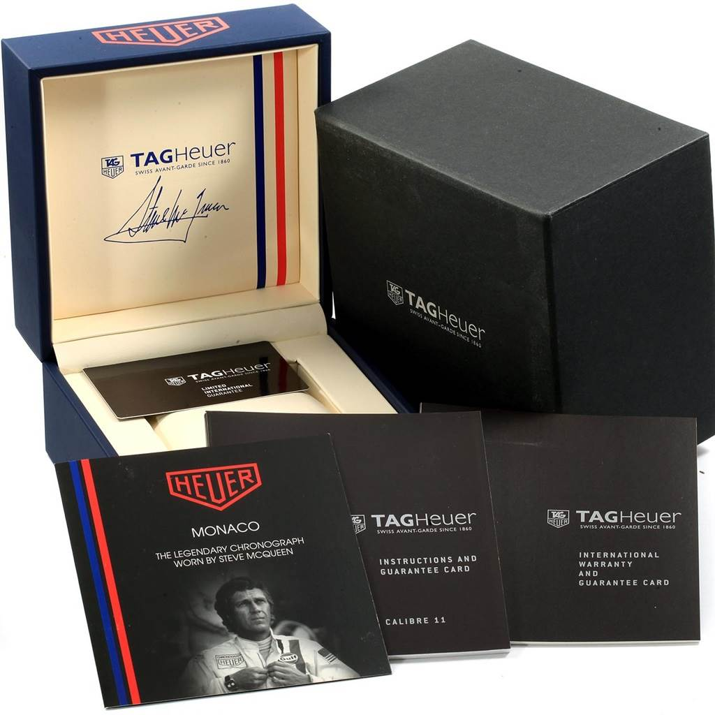 19477 Tag Heuer Monaco Chronograph Blue Dial Mens Watch CAW211P Box Card SwissWatchExpo
