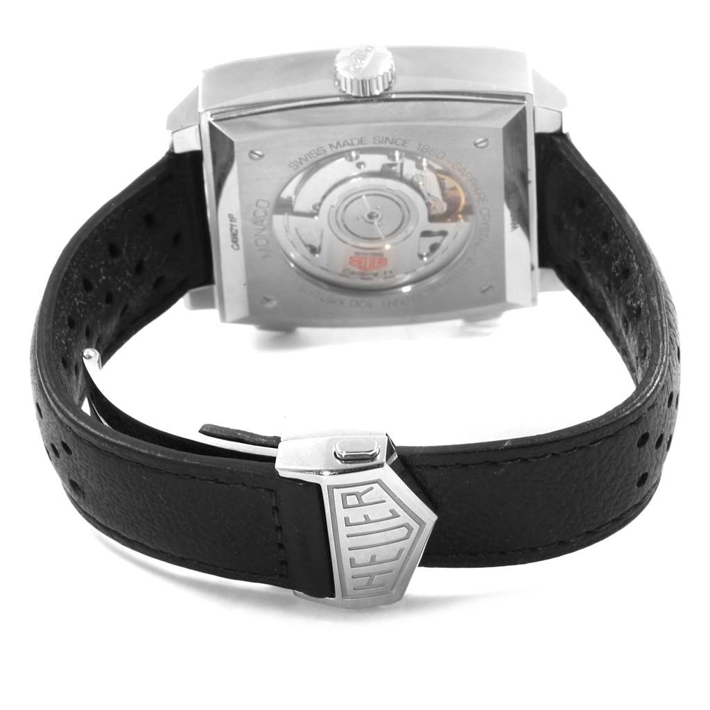 Tag Heuer Monaco Chronograph Blue Dial Mens Watch CAW211P Box Card SwissWatchExpo