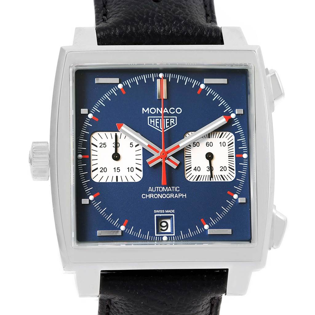 Photo of Tag Heuer Monaco Chronograph Blue Dial Mens Watch CAW211P Box Card